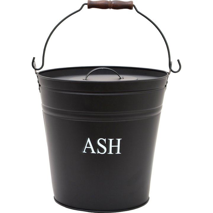 Calfire Ash Bucket With Lid - Black