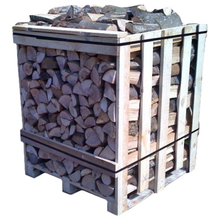 EVA Kiln Dried Hardwood Logs - 1m Cubic Crate - Brown