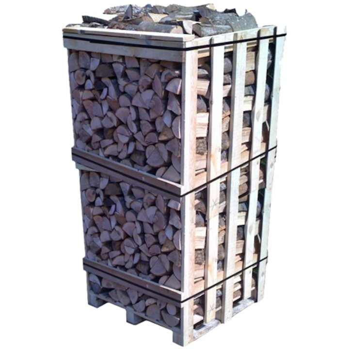 EVA Kiln Dried Hardwood Logs - 2m Cubic Crate - Brown