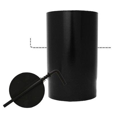 Evaflue Stove Pipe 250mm Length With Damper - Black Vitreous Enamel