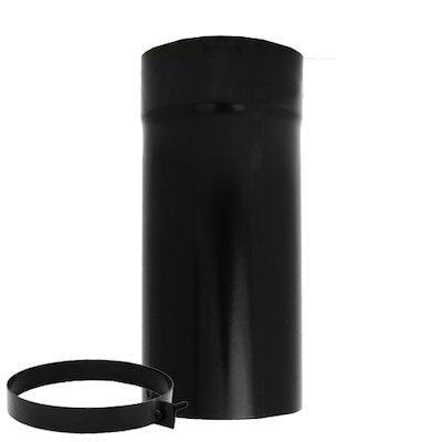 Evaflue Stove Pipe Telescopic Section - Black Vitreous Enamel