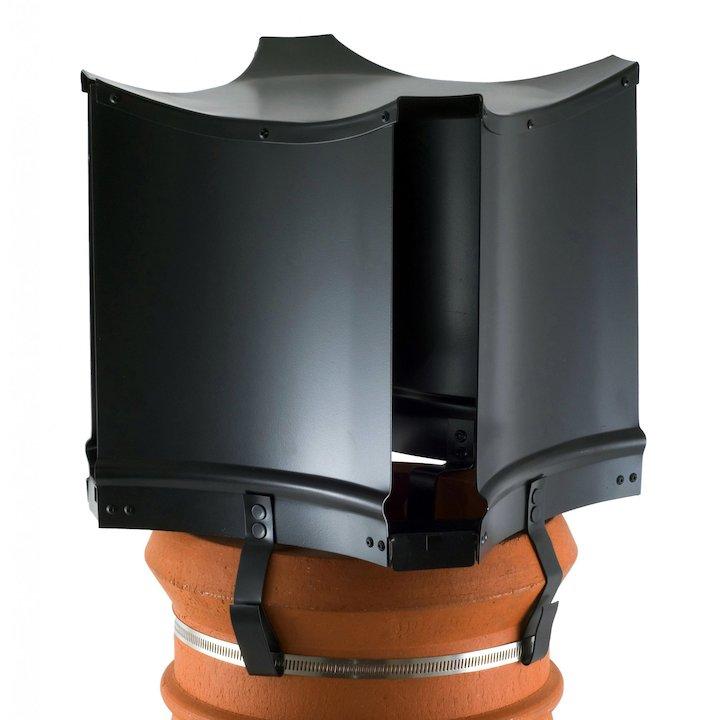 Brewer Aerodyne Chimney Cowl Black Strap Fix - Black