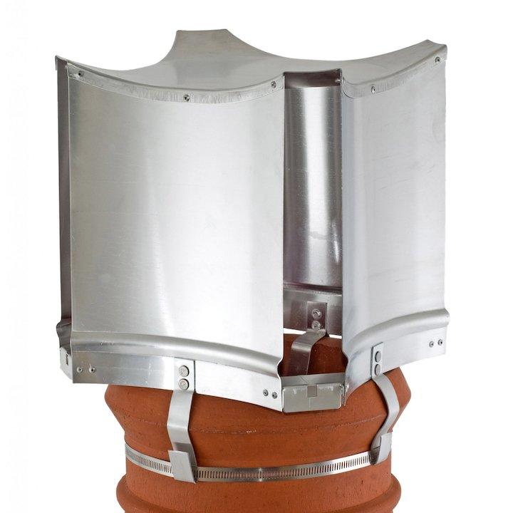 Brewer Aerodyne Chimney Cowl Silver Strap Fix