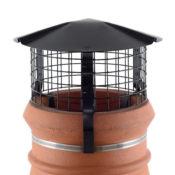 Brewer Chimney Pot Simple Birdguard Black Solid Fuel Stoves Round Top - Black