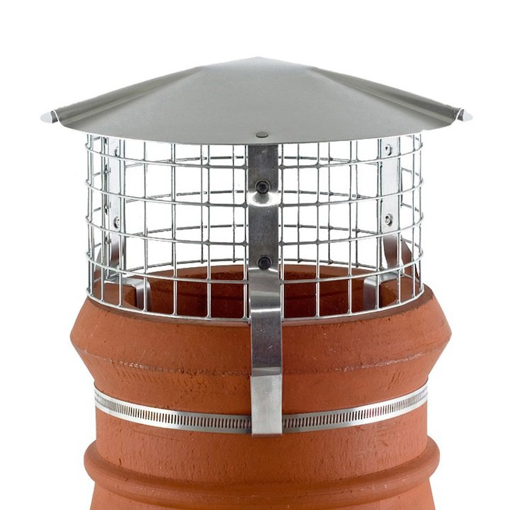 Brewer Chimney Pot Simple Birdguard Silver Solid Fuel Stoves Round Top - Silver Filigree