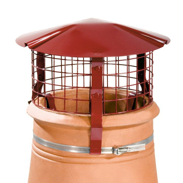 Brewer Chimney Pot Simple Birdguard Terracotta Solid Fuel Stoves Round Top - Terracotta