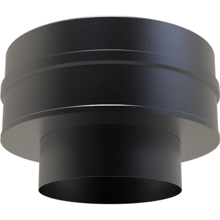 Convesa KC Twinwall Flue SW-TW Flat Increasing Appliance Connector - Black
