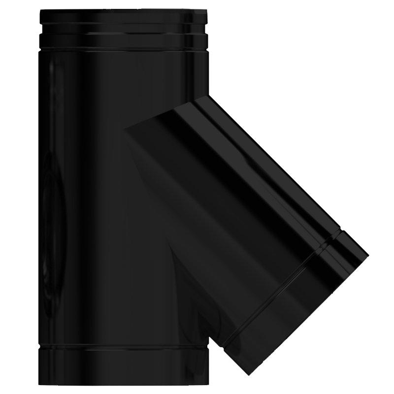 Midtherm HTS Twinwall Flue 45° Tee Piece - Black