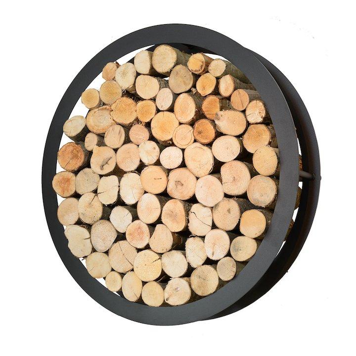Harrod Circular Wall Mounted Log Holder - Black