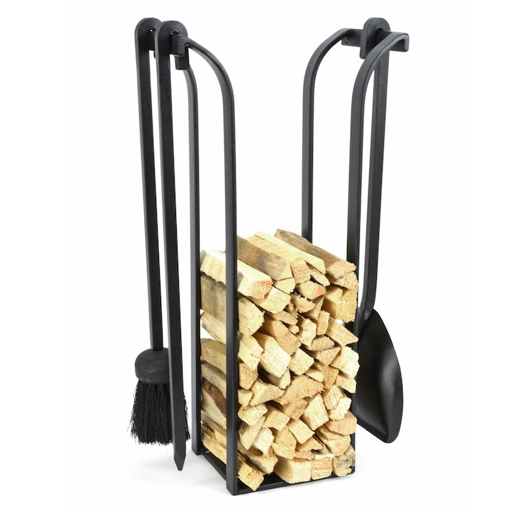 Manor Blacksmith Kindling Holder With Fire Tools - Black