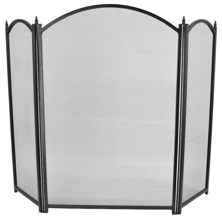 Manor Dynasty Plus 3 Fold Small Fire Screen - Black