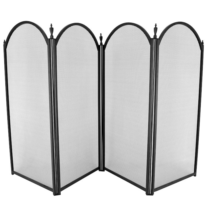 Manor Dynasty Plus 4 Fold Small Fire Screen - Black