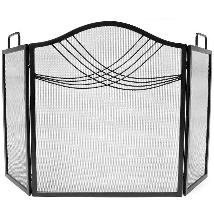 Manor Fourline 3 Fold Fire Screen - Black