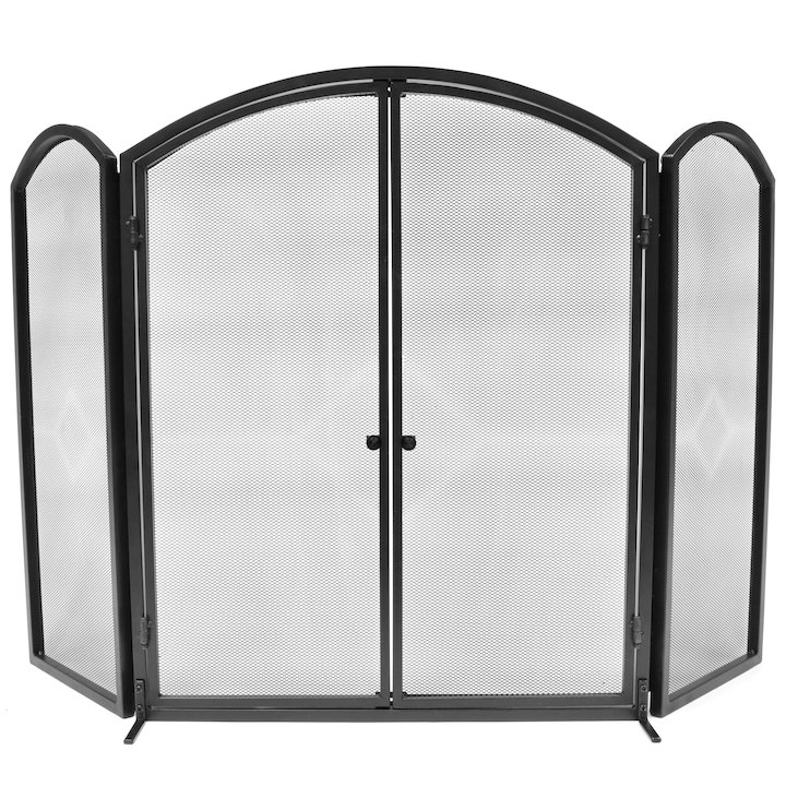Manor Archway 3 Fold Fire Screen with Doors - Black