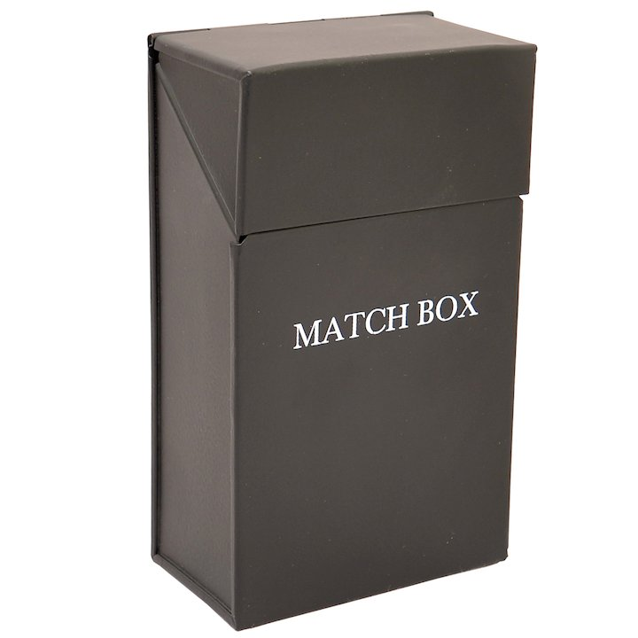 Calfire Match Box Holder - With Lid - Black