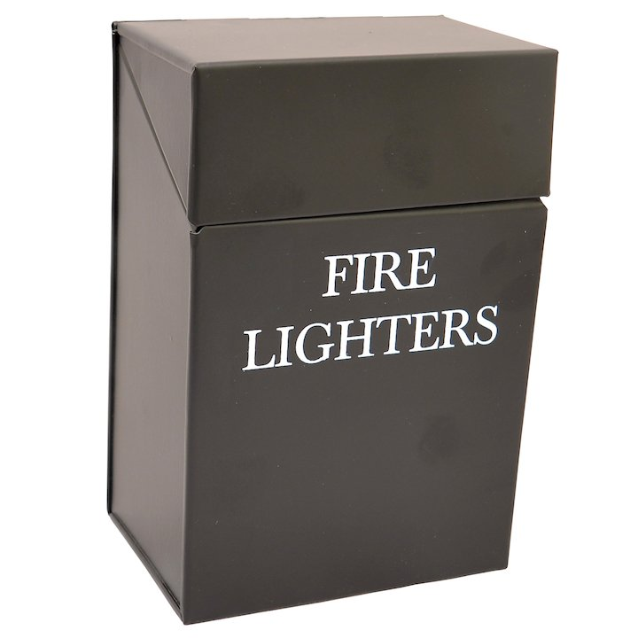 Calfire Fire Lighters Box Holder - With Lid - Black