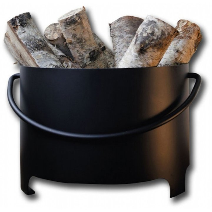 Hwam Round Log Bucket with Handle - Clearance - Black