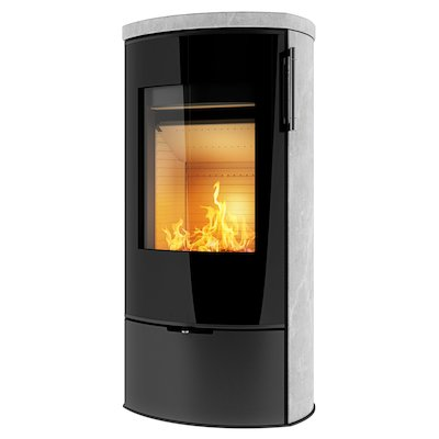 Rais Poleo II Wood Stove Black Black Glass Framed Door
