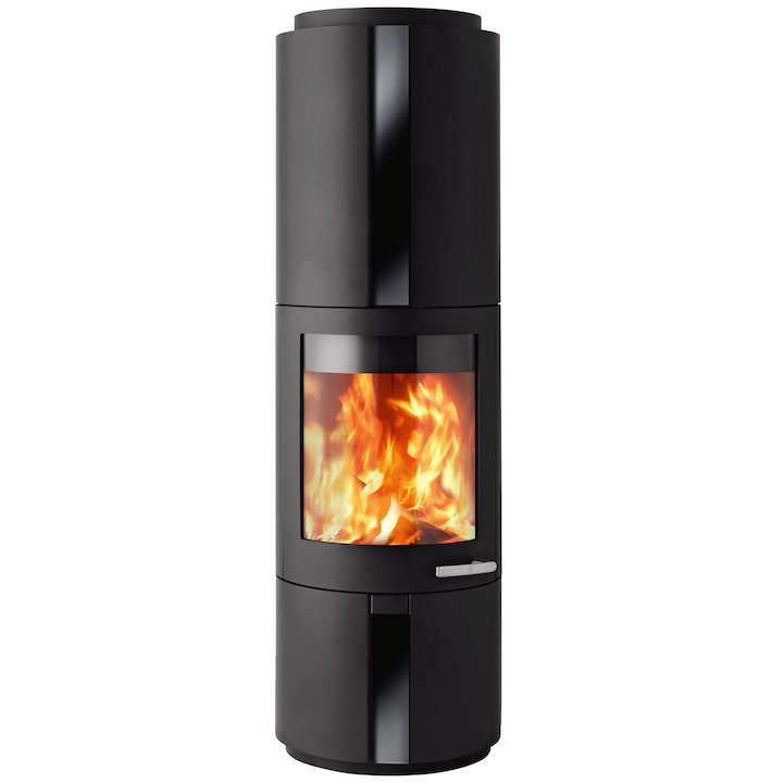 Skantherm Solo Wood Stove Black FX Curved Door Black Glass Inlay - Black