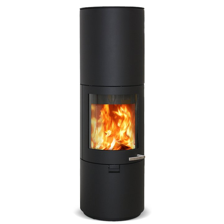 Skantherm Solo Wood Stove Black FX Curved Door Smooth - Black
