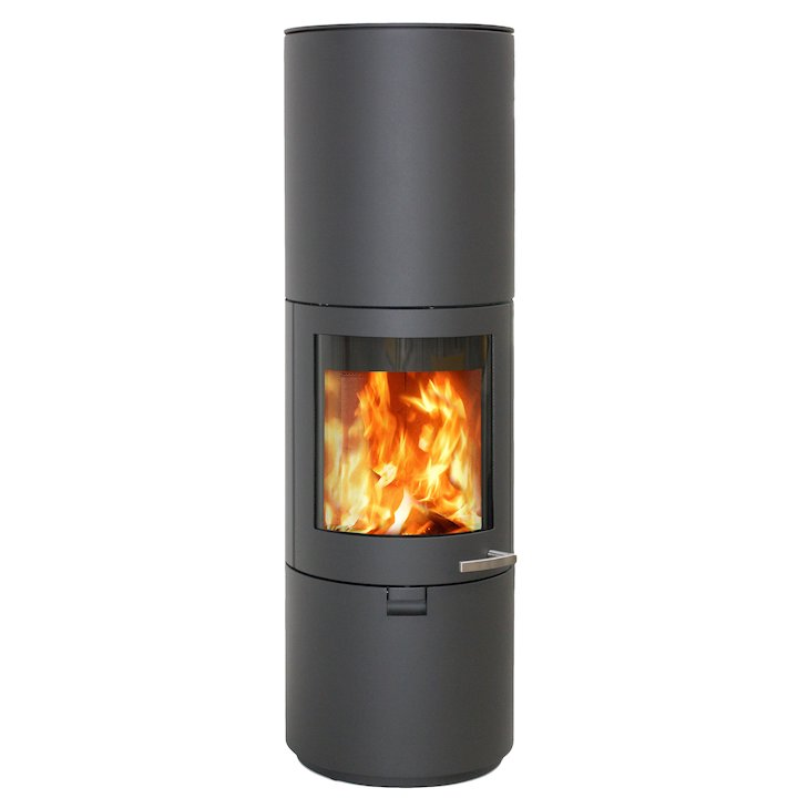 Skantherm Solo Wood Stove Grey FX Curved Door Smooth - Grey