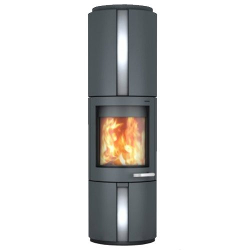 Skantherm Solo Wood Stove Grey FX Curved Door Stainless Steel Inlay - Grey