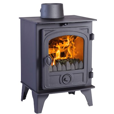Hunter Hawk 4 Multifuel Stove Black Contemporary Door
