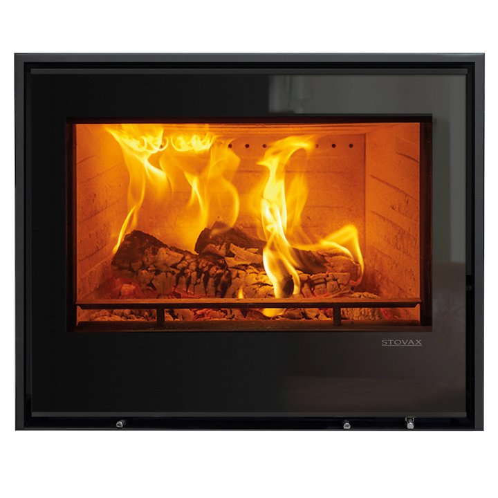 Stovax Elise 680 Multifuel Cassette Fire - Frontal Black Glass Three Sided Edge+ Frame - Black Glass