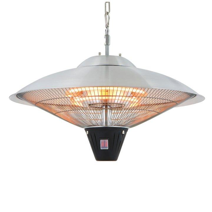 La Hacienda Silver Hanging Halogen 2100W Electric Patio Heater - Silver Filigree
