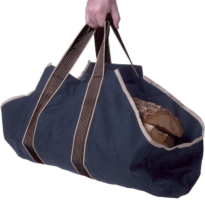 Calfire Wood Sling Canvas Log Carrier - Navy Blue
