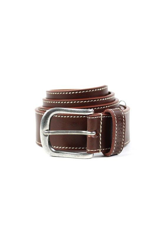 Cinturón piel lisa pespuntes - Castanho