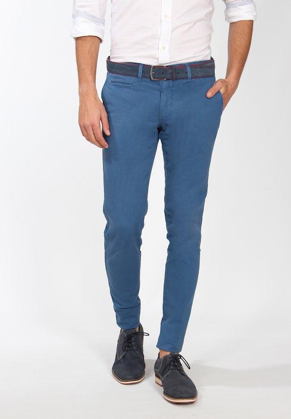 Pantalón chino slim fit  de microestructura - Azul Ducados