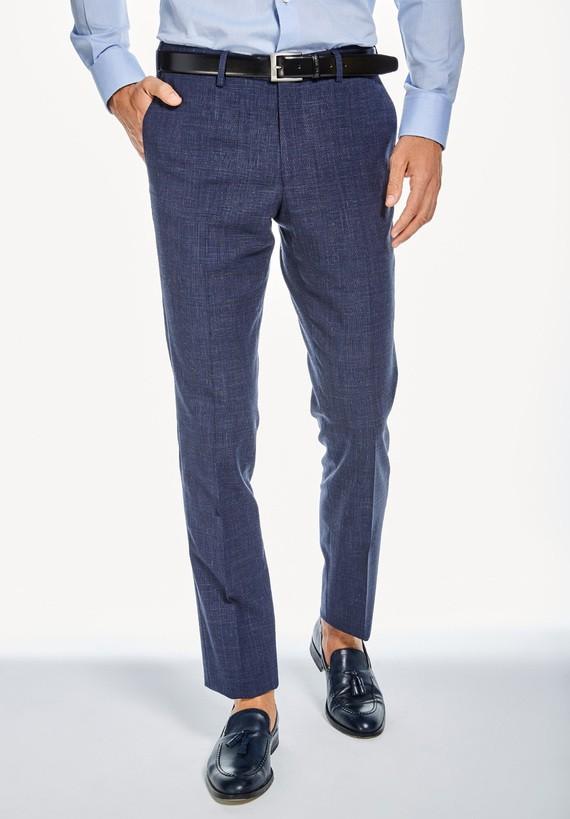 Pantalón vestir medium de cuadros - Marino