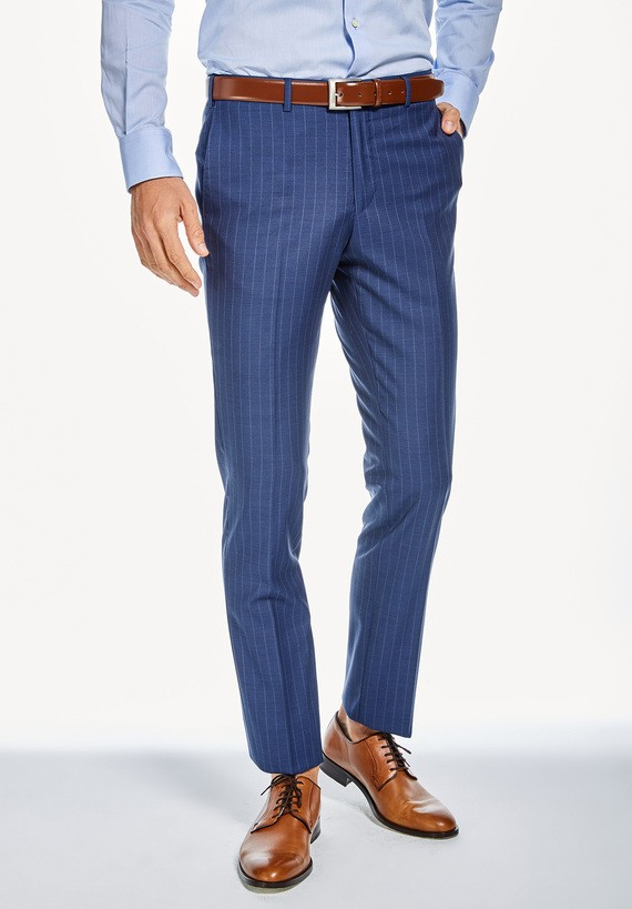 Pantalón vestir medium de rayas - Marino