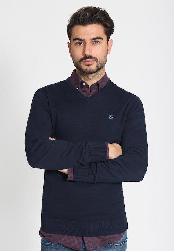Jersey básico con cuello pico - Azul Noche