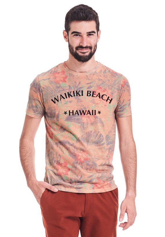 Camiseta regular fit  con estampado hawaiano