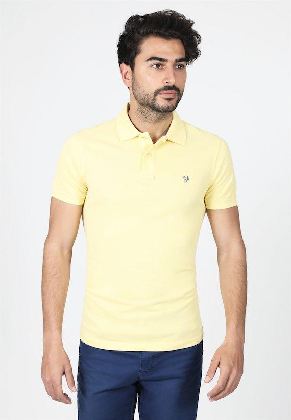 Polo slim fit de manga corta y cuello de canalè - Amarillo Claro