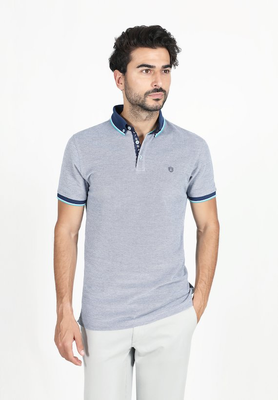 Polo regular fit de manga corta piqué liso - Azul