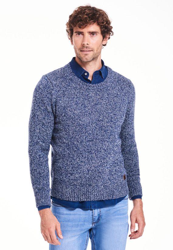 Jersey fantasía cuello caja en lana / nylon