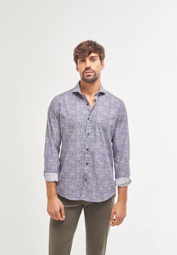 Camisa slim fit estampado de fantasía - Marino