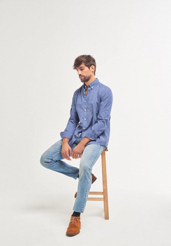 Camisa estampada azul reular fit - Azul