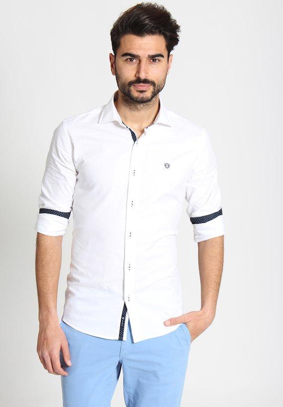 Camisa slim lisa con contraste - Blanco