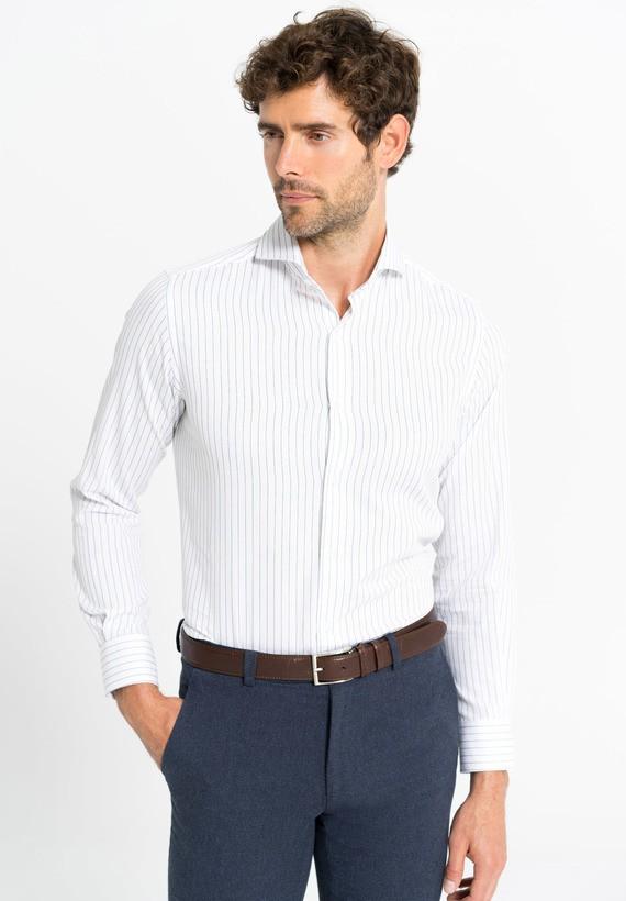 Camisa vestir rayas - White