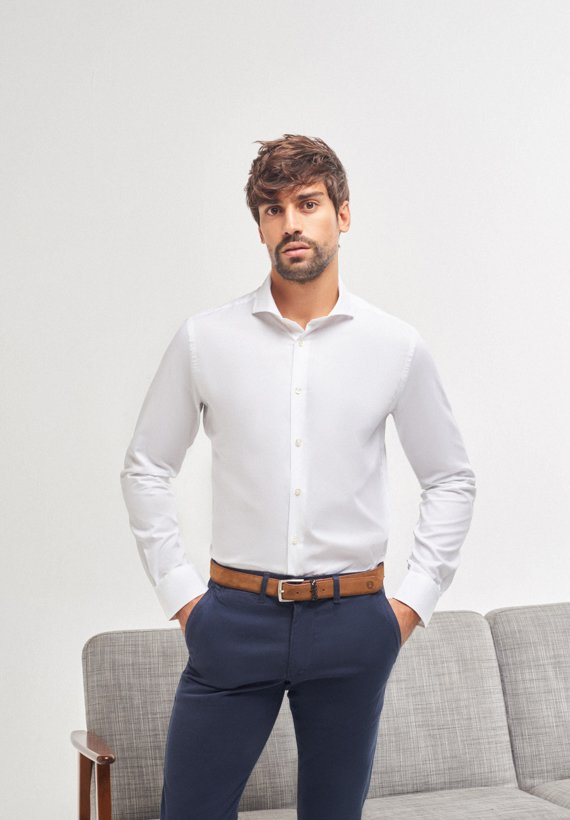 Camisa slim fit 100% algodón - Blanco