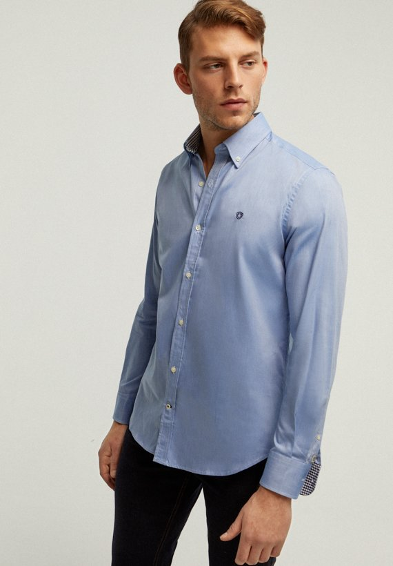 Camisa oxford slim - Azul