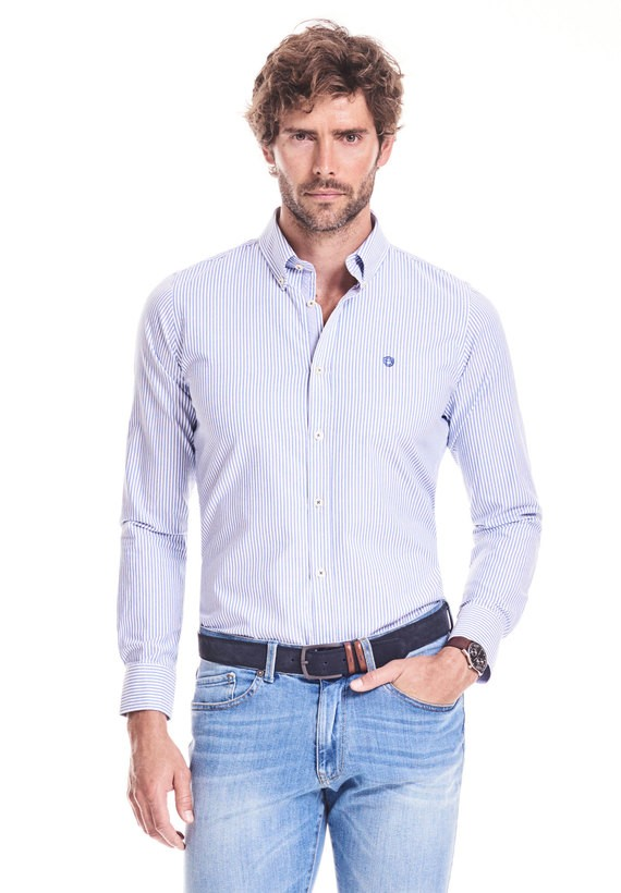 Camisa slim de rayas oxford