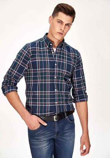 Camisa oxford cuadros regular