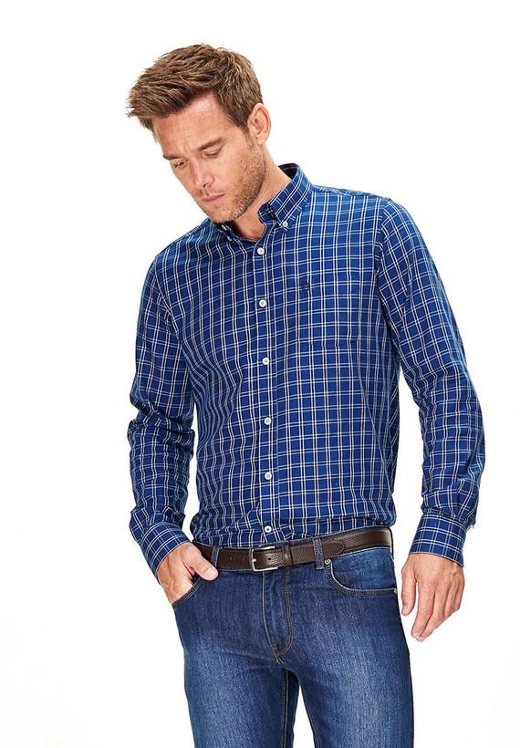 Camisa sarga cuadros regular - Azul