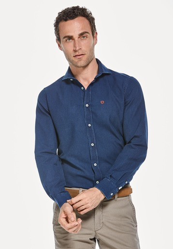 Camisa indigo estructura slim