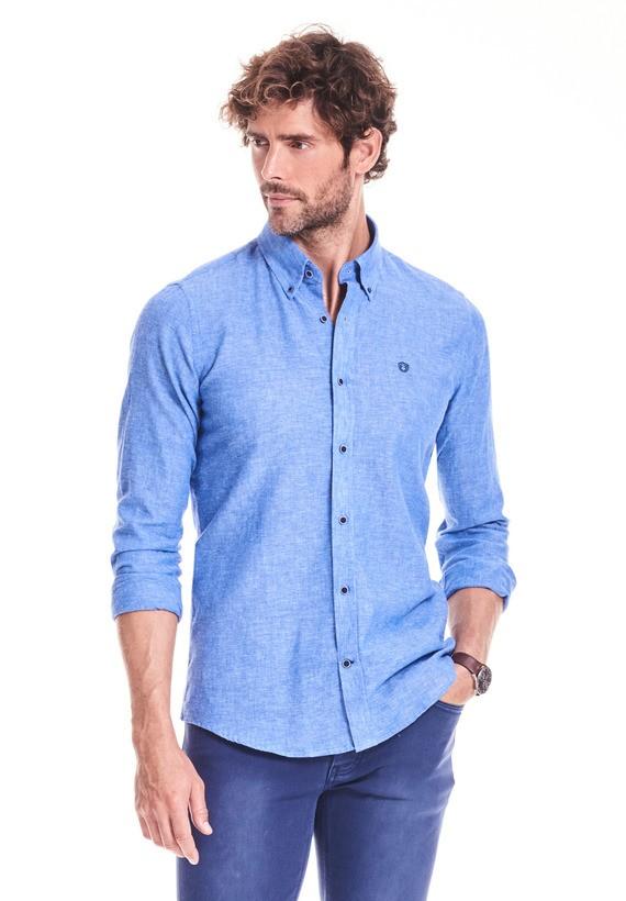 Camisa regular lisa en lino algodón